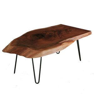 A live edge, walnut coffee table will surely liven up your home!
