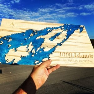 Epoxy and wood art piece of the 1000 Islands