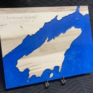 Epoxy and wood lake map of Amherst Island