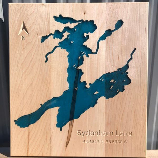 Lake map made from Epoxy & Maple wood. Sydenham Lake.